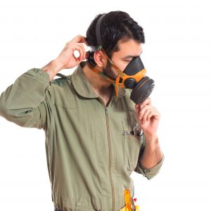 mechanic in gas mask