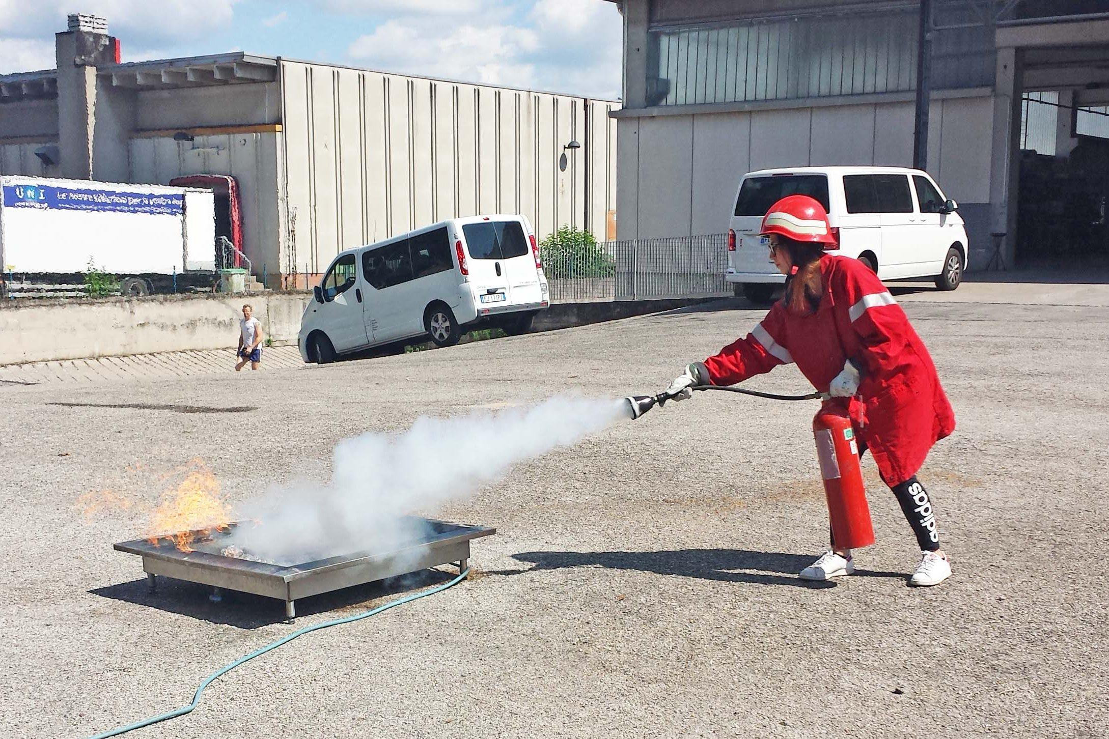 una partecipante al corso antincendio